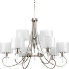 invite collection 9 light brushed nickel chandelier