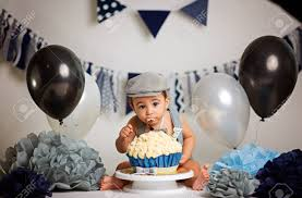 Infant Boys First Birthday Cake Smash Adorable Baby Smashing Stock