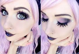 eyebrow eyelash purple violet lip eye shadow eye cheek forehead gothic face painting goth makeup tutorial black eyeshadow