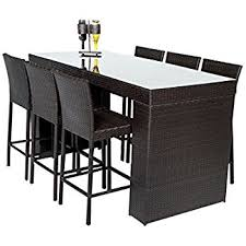Amazon Best Choice Products 7pc Rattan Wicker Barstool Dining