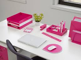 pink office desk. your office will look so pretty in pink with these bright poppin desk accessories l