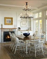 windsor chairs painted white love the table