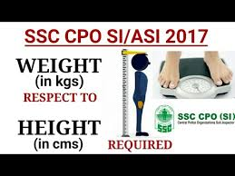 Upsc Height Weight Chart Ssc Cpo 2017 Weight Required With Respect To Height And Age