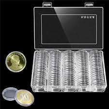100pcs 30mm round coin holder wooden storage box container display case