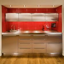 stainless steel kitchen cabinets ikea blue wooden kitchen island concrete accent wall modern gray red cabinet
