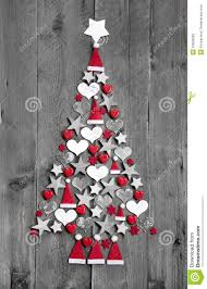 Grey Christmas Tree Christmas Tree Made Up Of Decoration On Grey Wooden Background