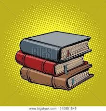 stack of old books ic book cartoon pop art retro ilration