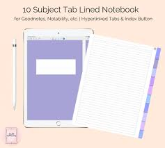 Notebook Templates Digital 10 Subject Tab Lined Student Notebook Template