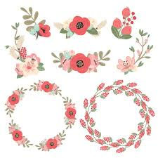 Mint and coral Rose Gold Round Floral Wreaths Clipart In Mint Coral Mandy Art Market Mint Coral Jenny Pretty Floral Wreath Clipart Vectors