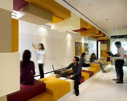 office seating area. Seating On A Benched Area With Mirrored Ceiling Elements To Office N