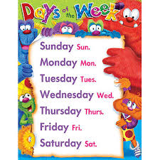 Days Of The Week Chart Furry Friends Days Of The Week School Poster