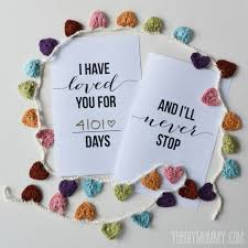 Printable Free Anniversary Cards I Have Loved You For This Many Days Free Valentine Or