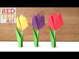 Easy Paper Origami Flower Easy Paper Tulip Red Ted Art