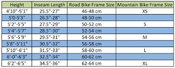 Unique Bike Frame Size Chart Ornament Ideas De Marcos