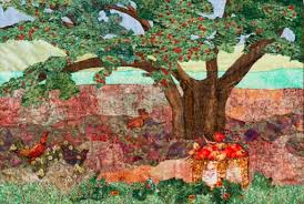 The Old Apple Tree a Fabric Ladndscape Art Quilt & The Old Apple TreeOriginal Landscape Quilt Art Quilt Adamdwight.com