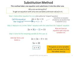 systems of equations 2 equations in 2 variables 3 substitution method