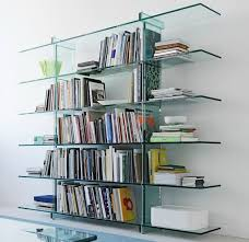 Glass shelves bookcase Wardrobe Teso Float Glass Bookcase Homedit Designs That Make Glass Bookcases Fashionable Again