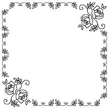 飾り枠3白黒バラの花枠ふきだし無料イラスト素材