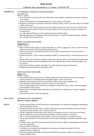 Web Analyst Resume Sample Web Analytics Manager Resume Samples Velvet Jobs 1