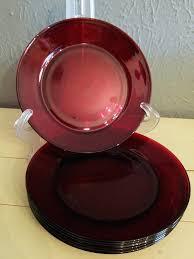 clear red glass dessert plates vintage 8 ruby salad set of s