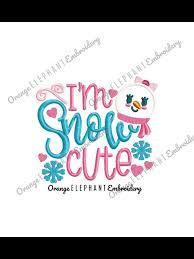 Orange Elephant Embroidery Designs Snow Cute Applique Christmas Embroidery Designs Machine