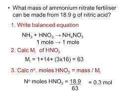 what mass of ammonium nitrate fertiliser can be made from 18 9 g of nitric acid