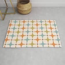 mid century modern star pattern 817 orange brown blue and olive green rug