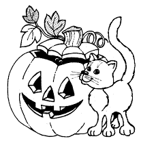 Small Picture Halloween Pumpkin Cat Coloring Pages 2 Purple Kitty