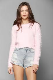 Fuzzy Light Pink Sweater Fuzzy Cropped Sweater