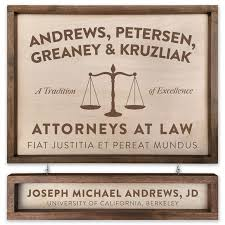 personalized wooden lawyer attorney sign