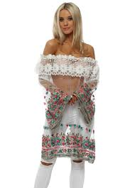 Monaco Paris Tulle Floral Bardot Kaftan Dress