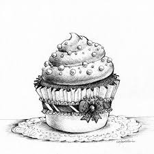 cupcake drawing black and white.  White Drawn Cake Black And White 4 On Cupcake Drawing Black And White P