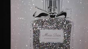 miss perfume with diamond dust silver glitter crystals wall art picture