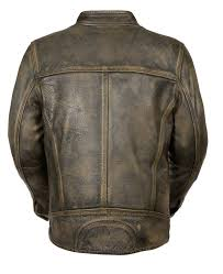 com men s distressed brown leather scooter jacket w triple stitch detailing motorcycle jacket large automotive