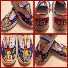 Cool Designs To Paint On Shoes Lego Movie Inspired Vans Emmett Lord Business Painted