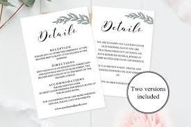 Wedding Enclosure Card Template Editable Wedding Details Card Template Rustic Wedding Etsy