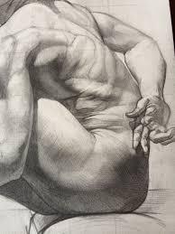 sabin howard seated discreet muscular figure anatomy torso profile drawing