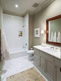 grey bathroom vanity with beige wall