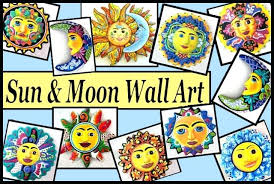 hand painted metal sun and moon wall art decor stars hanging metal sun moon wall decor