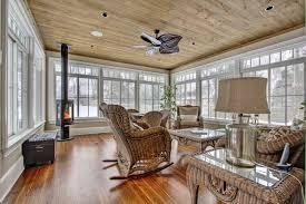 Splendid Sunroom Decorating Interior Features Wood Grain Ceiling