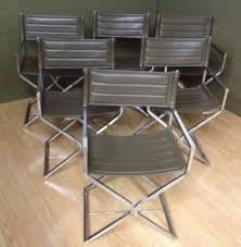 folding metal directors chairs. mid century modern virtue brothers chrome leather director chairs set folding metal directors
