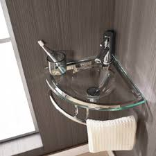 Brescia Corner Glass Basin and Aluminium Stand ...