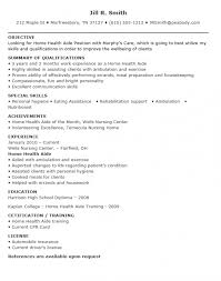 Certified Home Health Aide Sample Resume
