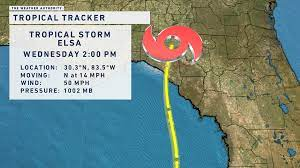 Tropical Storm Elsa is slightly weaker ...