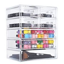 sortwise 7 drawer large partment clear acrylic cosmetic makeup organizer cube conner cabinet electronic appliance party