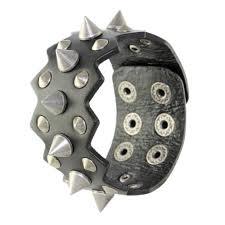 details about men uni cool punk biker rock wide black leather cuff wristband spike bracelet