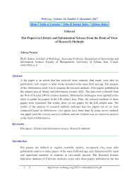 Pdf Hot Papers In Library And Information Science From The