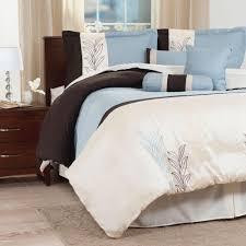lavish home samantha 7 piece blue embroidered king comforter set