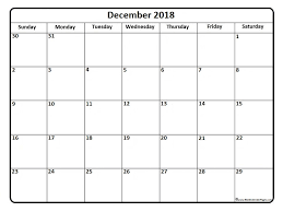 December 2018 Calendar Free Printable Monthly Calendars