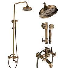 Votamuta <b>Antique Brass Bathroom</b> 8-Inch Rain Shower <b>Faucet</b> Wall ...